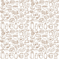 Various Breakfast items seamless vector pattern