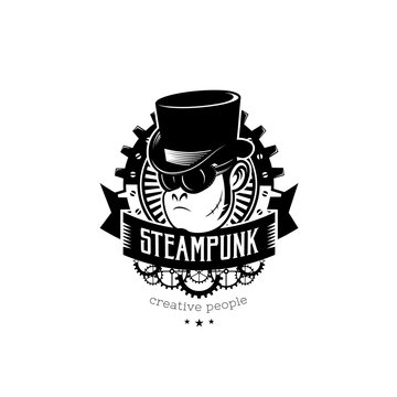 Vintage steampunk monkey in top-hat. Monochrome vector illustration, can be used as a logo, label for clothing, t-shirt print, tatoo.
