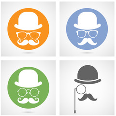 Silhouette of gentleman's face with moustaches, bowler and glasses - capitalist or hipster