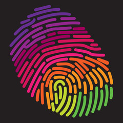 A stylized rainbow fingerprint for Print or Web