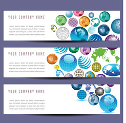A set of globe banners for Print or Web