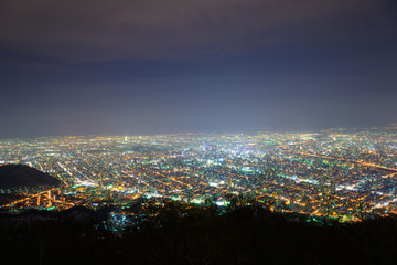 Sapporo at dusk, view from Observatory of Mt.Moiwa