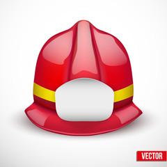 Red fireman helmet vector illustration