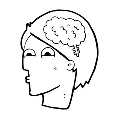 cartoon head with brain symbol