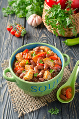 Vegetable stew with chicken and beans