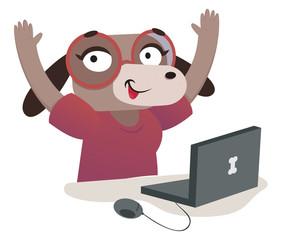 Nerd Dog Girl Using a Computer