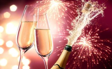 Champagner-Splash mit Feuerwerk