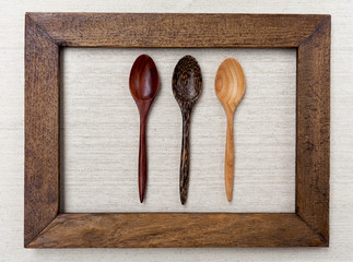 Wooden spoon and wooden picture frame, vintage style