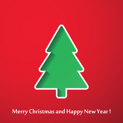 Vector modern abstract Christmas tree background. Linear design