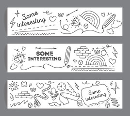 Banners set. Hand drawn doodle style. Black and white.