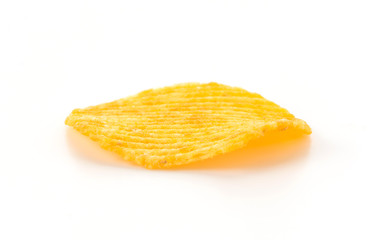 potato chips on white background