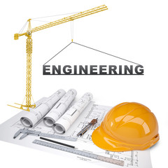 Building crane with ruler