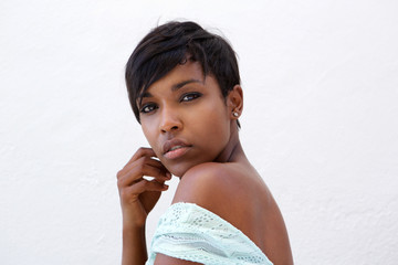 Close up beautiful african american fashion model with short hair