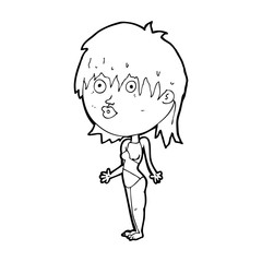 cartoon woman in swimsuit shrugging shoulders