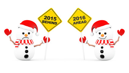 Snowmans with 2016 and 2015 Year Signs