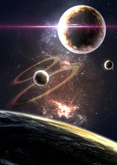 Fototapete - Planets over the nebulae in space