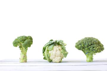 Cabbage, broccoli, and cauliflower