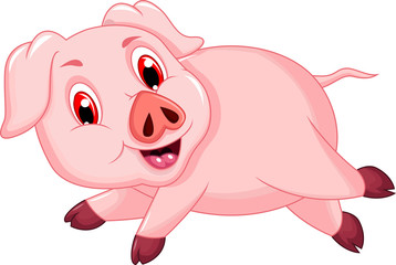 funny pig cartoon running