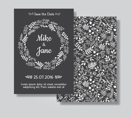 Rustic wedding invitation card set.