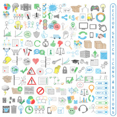 BUSINESS AND MARKETING CONCEPT VECTOR SKETCH ICONS AND BUTTONS