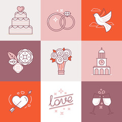 Wedding linear icons