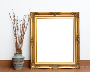 Picture frame on white wall room.