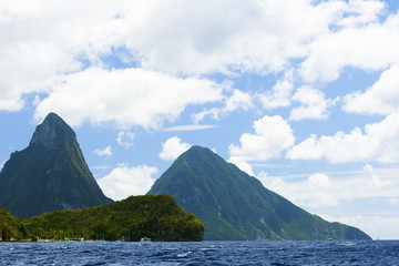 The famous Pitons in St. Lucia. Well known Caribbean mountains.