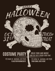 Happy Halloween Party Flyer with Sugar Skull and Bones