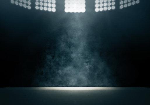 Spotlight and smoke on stage