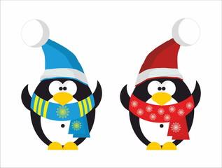 Two Penguin Santa Claus