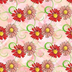 Seamless pattern of colorful chamomile
