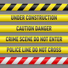 Set of danger tapes