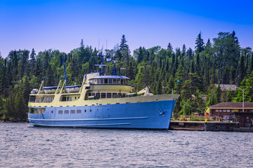 A photo of the National Park Service vessel Ranger III at Isle Royale National Park, in Lake Superior, Michigan, USA.