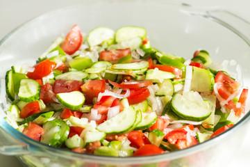 Summer salad fresh mix, cucumber & tomatoes