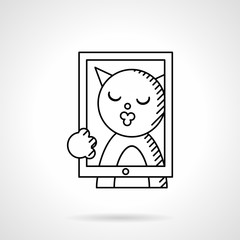 Cat taking selfie line vector icon