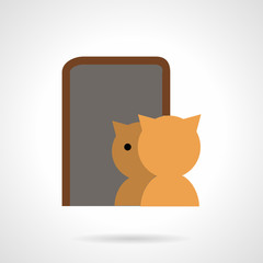 Cat and mirror flat vector icon