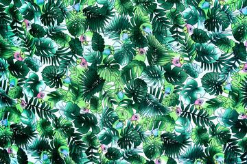 texture fabric Vintage Hawaiian parrot and leaves for background