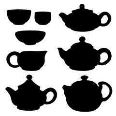 Black silhouettes of devices for the tea ceremony. Tea, Teapot, Cup. China, East. Vector