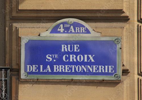 Plaque de rue de paris rue sainte croix de la bretonnerie 4 me arrondissement photo libre - 39 rue sainte croix de la bretonnerie ...