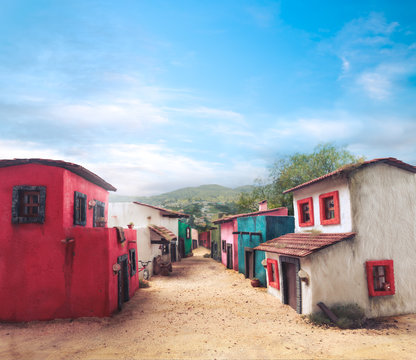 Scale model of a typical mexican village on a sunny day