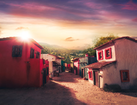 Scale model of a typical mexican village at sunset