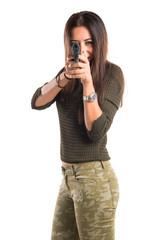 woman shooting with a pistol