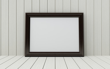 Realistic picture frame on wood background.