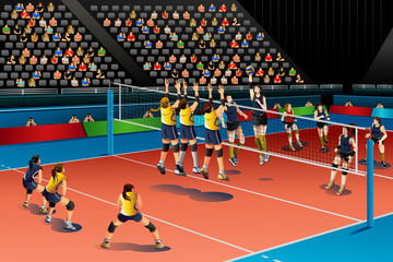 People Playing Volleyball in the Competition