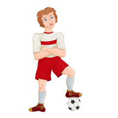 Young soccer player, cartoon character vector illustration