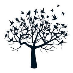 Black Tree and Black Birds. Vector Illustration.