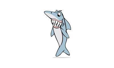Standing Shark Character Logo Image Vector