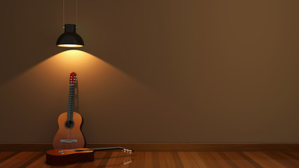interior design with acoustic guitar
