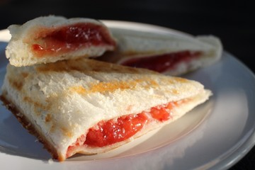 Toast bread with strawberry jam