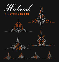 Set of two tone vintage pin striping line art. include un-expand path. use for vinyl sticker, painting template, tattoo. Vector illustration